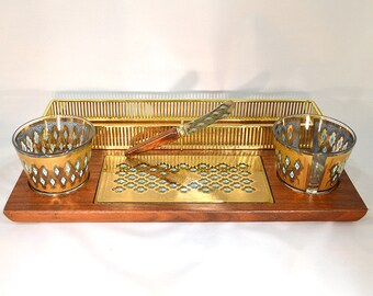 Mid Century Modern Hors D'oeuvres Tray- Culver Walnut Serving Tray with 22k Gold Glassware, Culver Seville Pattern, Mid Century Dining