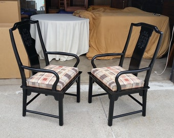 Vintage 1970u0027s Chin Hua Armchairs Century Furniture Black Lacquer Finish  Chinoiserie Raymond K. Sobota Design Asian