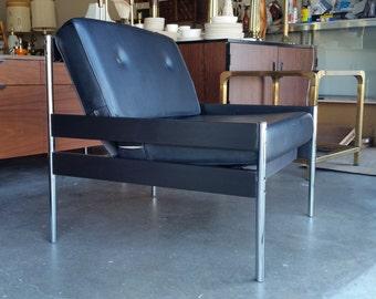 Vintage 1960's Chrome & Wood Sling Chair Mid Century Modern Canvas Seat Charles Pollock Style Naugahyde Cushions MCM