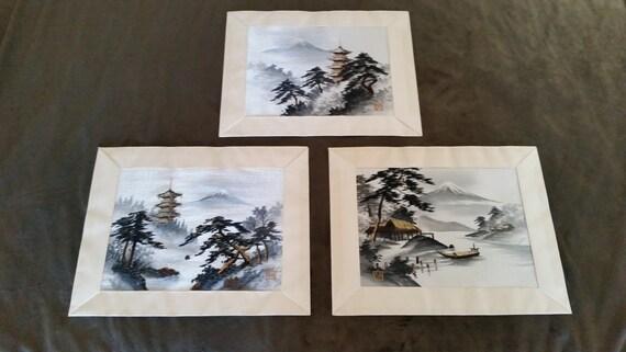 Vintage 1960 S Japanese Silk Embroidery Art Trio Mid Etsy