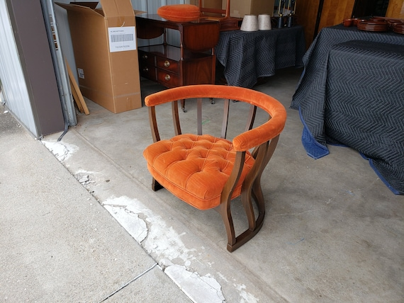 Terrific Vintage 1960S Spindled Barrel Lounge Chair Orange Tufted Velour Mid Century Modern Padded Armrest Great Design Very Comfortable Mcm Alphanode Cool Chair Designs And Ideas Alphanodeonline