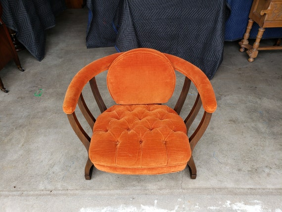 Marvelous Vintage 1960S Spindled Barrel Lounge Chair Orange Tufted Velour Mid Century Modern Padded Armrest Great Design Very Comfortable Mcm Alphanode Cool Chair Designs And Ideas Alphanodeonline