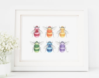 bumblebee Art, rainbow bee print, bee art, save the bees, honeybee, bee art print, bumblebee art print, colorful bee art, bees