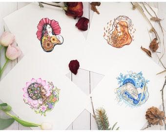 "Set of 4 Season Personification art prints, set of 4 prints, spring, summer, autumn, winter, 8.5""X11"""