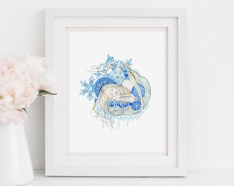 """Winter personification, winter inspired art print, art nouveau inspired art print, 8.5""""X11"""" giclee print """"Winter"""""""