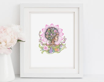 """Spring personification, art nouveau inspired print, 8.5""""X11"""" art print, illustration of spring, seasons, """"Spring"""""""
