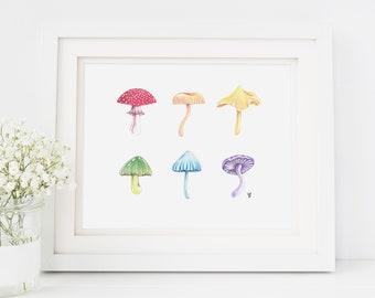 rainbow mushrooms, mushroom art, mushroom art print, whimsical art, rainbow print, cute art print, unique home decor, wall art