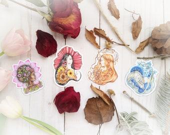 Vinyl sticker 4 pack, set of 4 die cut vinyl stickers, art nouveu seasons personifications, spring, summer, autumn, winter