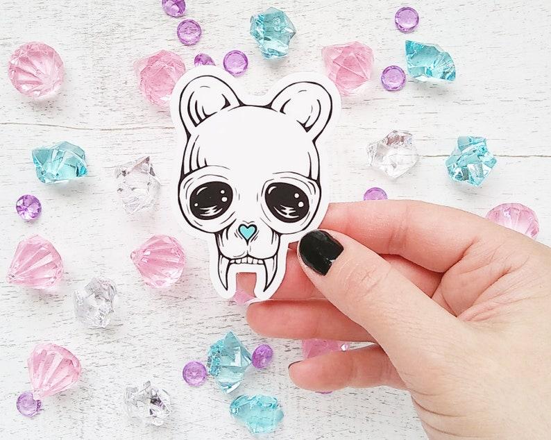 cute bear skull vinyl sticker, vinyl sticker, vinyl decal, graphic art,  bear illustration, bear art, sticker, die cut sticker, bear graphic