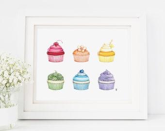 Cupcake art print, rainbow art print, dessert illustration, cupcakes, rainbow illustration, cupcake drawing, fun art print