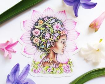 vinyl sticker, die cut vinyl sticker, spring, woman sticker, floral sticker, laptop embellishment, skateboard sticker