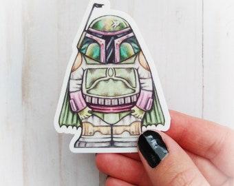 Boba Fett vinyl sticker, Mandalorian, die cut sticker, star wars sticker, fan art sticker, cute star wars sticker, Boba Fett