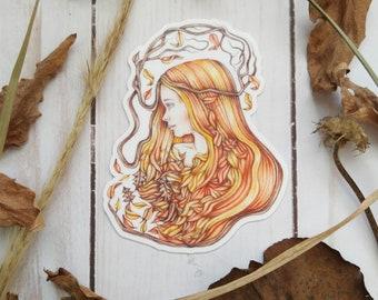Autumn Sticker, die cut vinyl sticker, vinyl sticker, female sticker, laptop decal, cell phone sticker, skateboard sticker, art nouveau