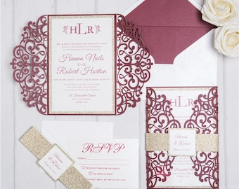 50 x Burgundy Wedding Invitations Kit - Includes Printing