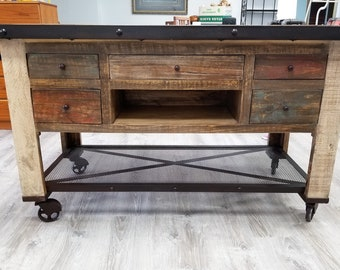 Beautiful Rustic Kitchen Island  Industrial Kitchen Island