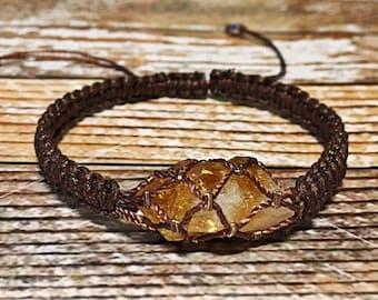 Raw Citrine Bracelet, Chakra Healing Bracelet, Healing Crystal Bracelet, Raw Crystal Jewelry