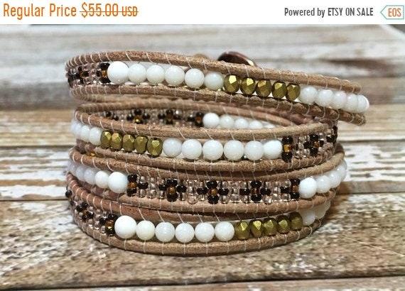 Promotion de ventes dégagement le plus fiable SALE Chan Luu Style Bracelet / Healing Crystal Bracelet / Leather Wrap /  Leather Bracelet / Wrap Bracelet / Chakra Bracelet