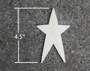 "Wooden Star Shapes - 4.5"" Wood Star Cutout"