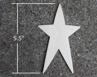 "Wooden Star Shapes - 5.5"" Wood Star Cutout"