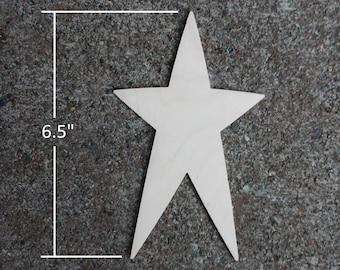"Wooden Star Shapes - 6.5"" Wood Star Cutout"
