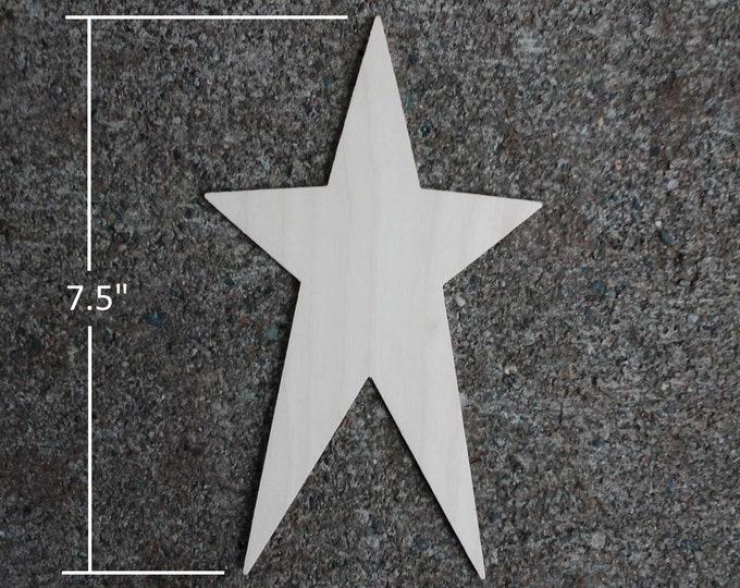 "Wooden Star Shapes - 7.5"" Wood Star Cutout"