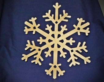 "8"" Wood Snowflake Cutout - Wooden Snowflake Shapes"