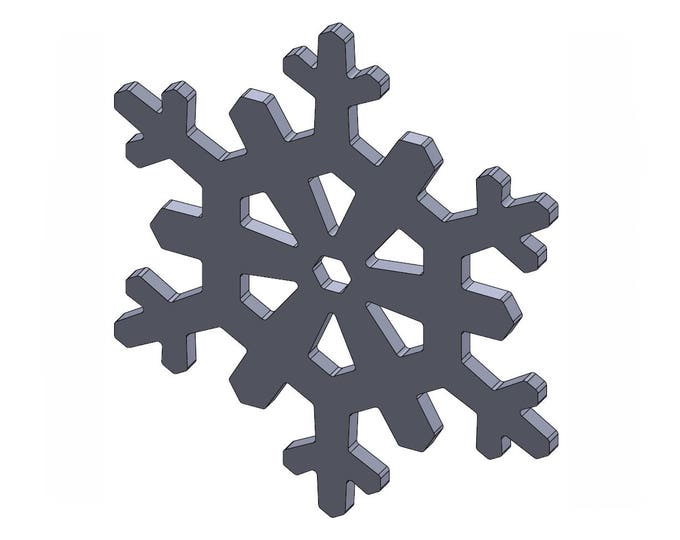 "4"" Snowflake - DXF And STL Files - Vector Graphics And Model For CNC Router, Laser Engraver, 3D Printer, Or Plasma Cutter"