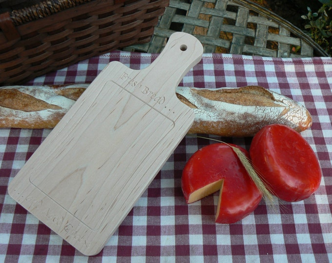 "Solid Maple Cutting Board - 5"" x 11.25"" x 0.75"" Overall - (5"" x 8"" Cutting Surface) - Engraved With ""Fresh Bread and Aged Cheese"""