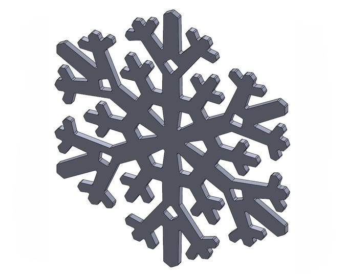 """6"""" Snowflake - DXF And STL Files - Vector Graphics And Model For CNC Router, Laser Engraver, 3D Printer, Or Plasma Cutter"""