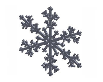 """12"""" Snowflake - DXF And STL Files - Vector Graphics And Model For CNC Router, Laser Engraver, 3D Printer, Or Plasma Cutter"""