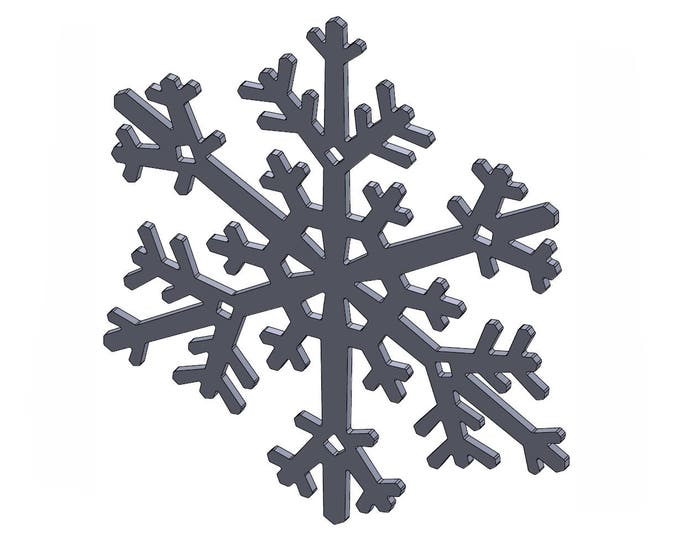 """8"""" Snowflake - DXF And STL Files - Vector Graphics And Model For CNC Router, Laser Engraver, 3D Printer, Or Plasma Cutter"""