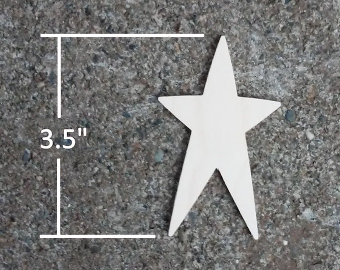 "Wooden Star Shapes - 3.5"" Wood Star Cutout"