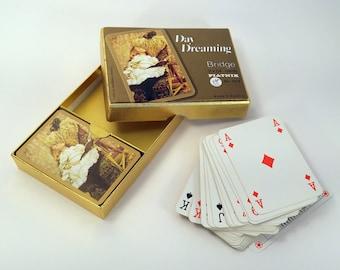 Vintage jouer cartes Piatnik Autriche pont 2 platines romantique de Style victorien