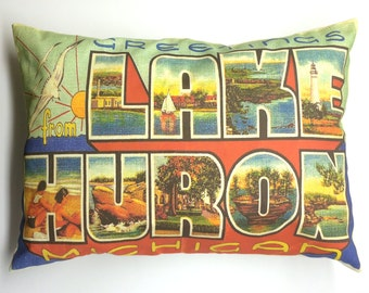 Lake Huron Michigan Vintage Postcard Style Pillow Cover with Pillow