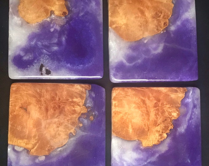 Wood coasters, resin coasters, resin art, functional art, coasters