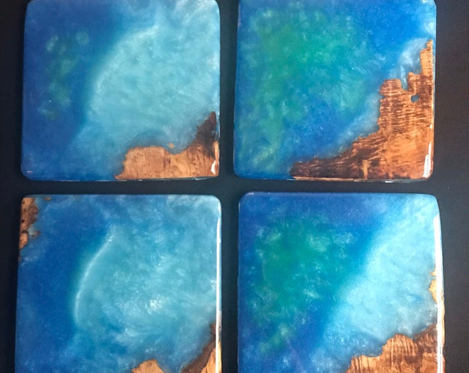 Wood coasters, resin coasters, resin art, functional art, coasters