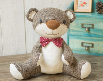Stuffed animal - Nosey Teddy Bear Sewing patterns & Tutorials | fabric toys | instant download patterns | Softies