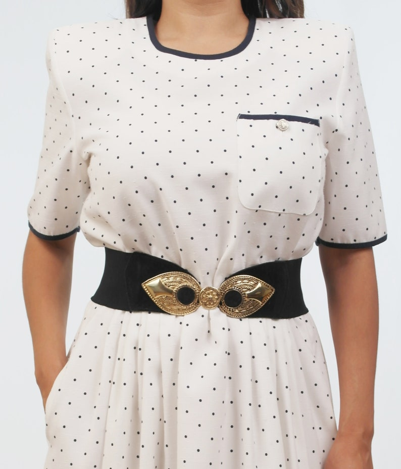 Vintage White /& Black Polka Dots Dress,1940,1950,1960,1970,Retro,Pinup,Rockabilly,Mary Jane,Cocktail,Evening Dress,Summer,Spring,Fall