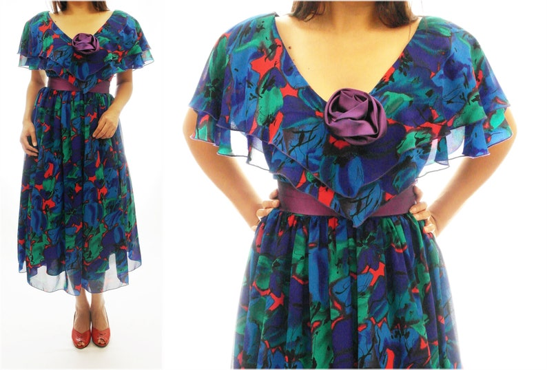 1950s Tulle Vintage Dress,Blue,Red,Green,Purple,Prom,Floral,Pinup,Rockabilly,Retro,1960,1970,1980,Black,Brown