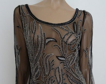 Top/top embroidered tulle black size 38 - uk 6 us - 10 beads/sequins embroidery