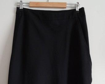 AGNES FLO black asymmetric wrap skirt size 44 - uk 16 - us 12
