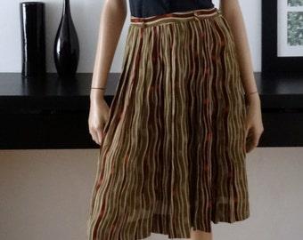 Vintage CAMPUS CASUALS of CALIFORNIA Burgundy/khaki skirt 34 - uk 6 - Us size 2