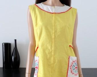 Dress blouse mod/Yang yellow vintage 44/46 - uk - size 16/18 us 12-14
