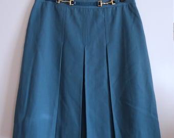 957562649 Skirt pleated blue vintage CELINE Paris size 46 / uk 18 / 14 us