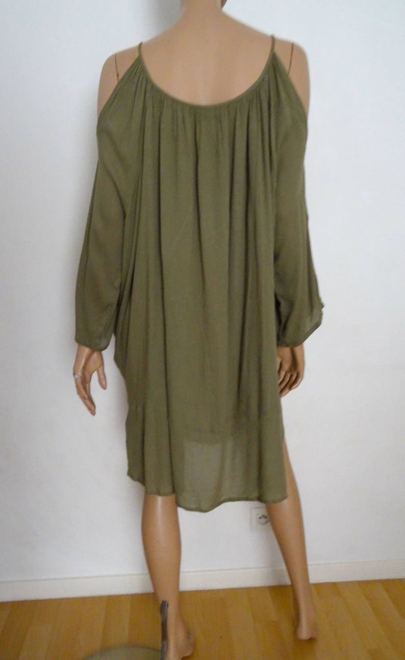 611ed7ddb05 Khaki embroidery VILA folk tunic dress size L | Etsy