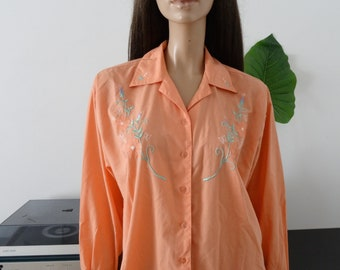 vintage salmon pink color floral embroidery blouse size 42 - uk 14 - us 10