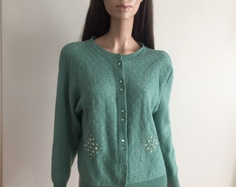 Cardigan vintage water green vest with pearls size 40 - uk 12 - us 8