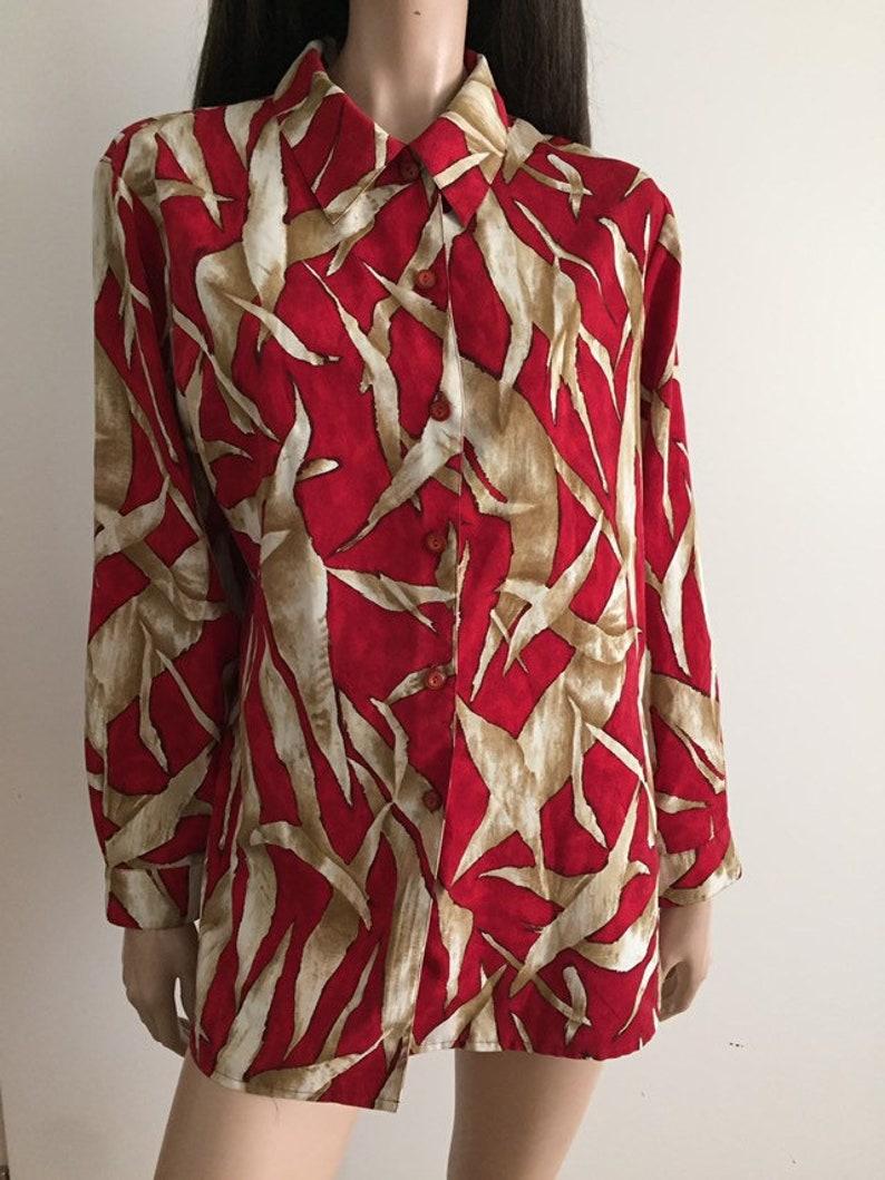 us 10 vintage Burgundybeige print blouse size 42 uk 14