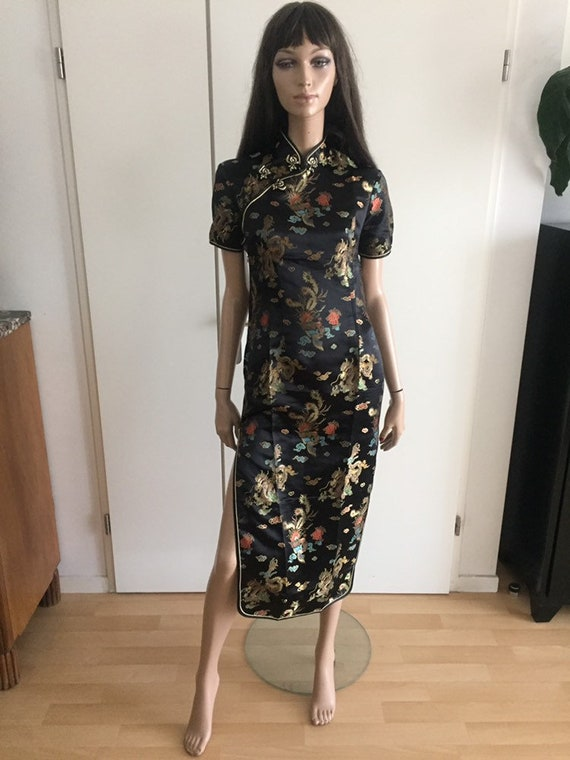 Chinese black/fleurie chinese dress size 38 - new