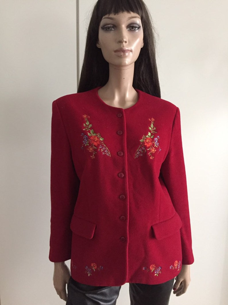 Vintage KENZO red embroidery coloured flowers size 42  UK 14  US 10